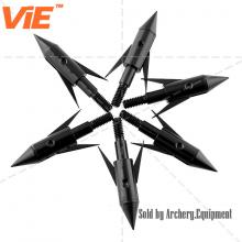 ViE 100 Grain Stainless Steel Hunting Broadhead 2 Blade Black Arrowheads -6 pack