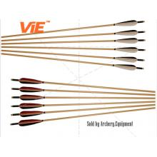 ViE 33-35 inch Bamboo Shaft Arrows with 4 inch Turkey Feathers Material Vane -12 pack