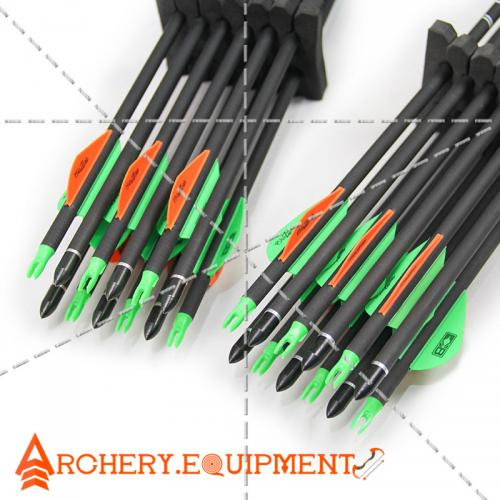 30 inch Target Hunting Arrows Carbon Arrow Green-Orange Blazer Feather with  Replaceable Arrowhead Spine 300 for Recurve and Coumpond Bows