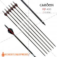 30 inch Target Hunting Arrows Carbon Arrow Black-Red Blazer Feather with Replaceable Arrowhead Spine 400 for Recurve and Coumpond Bows