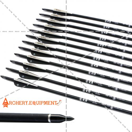 30 inch Target Hunting Arrows Carbon Arrow Black Feather with Replaceable  Arrowhead Spine 500 for Recurve and Coumpond Bows
