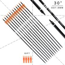 30 inch Target Hunting Arrows Carbon Arrow Orange Feather with Replaceable Arrowhead Spine 500 for Recurve and Coumpond Bows