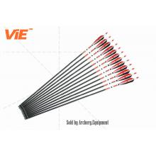 ViE 31 inch Spine 500 Pure Carbon Shaft Arrows with Red and Black Turkey Feather -12 pack