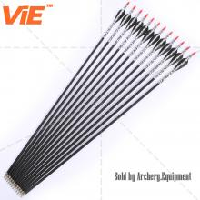 ViE 31 inch Spine 500 Fiberglass Shaft Arrows 3 inches White and Black Plastic Material Vane -12 pack