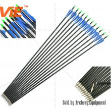 ViE 32 inch Spine 500 Fiberglass Shaft Arrows 3 inches Plastic Material Vane -12 pack