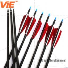 ViE 32 inch Spine 600 Mix Carbon Shaft Arrows with 4 inches Turkey Feathers Material Vane -12 pack