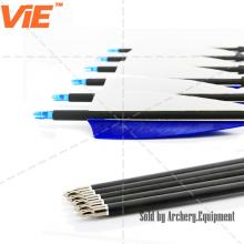 ViE 32 inch Spine 600 Mix Carbon Shaft Arrows with 4 inch Turkey Feathers Vane -12 pack