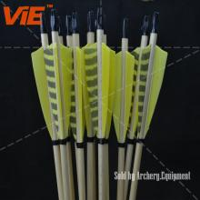 ViE 31 inch Wood Shaft Arrows with 4 inch Turkey Feathers Material Vane -12 pack