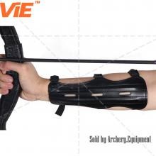 ViE 8.7 inch PU Leather Targeting Arm Protector 3 Straps Elastic Archery Arm Guard Black