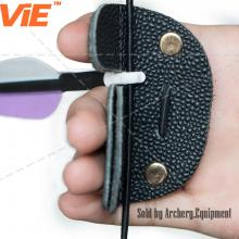 ViE 3.1 inch Dual Layer Cow Leather Finger Protector Archery Hunting Finger Tab Color Black